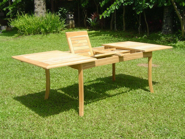 """Grade-A Teak Wood 94"""" Double Extension Rectangle Dining"""