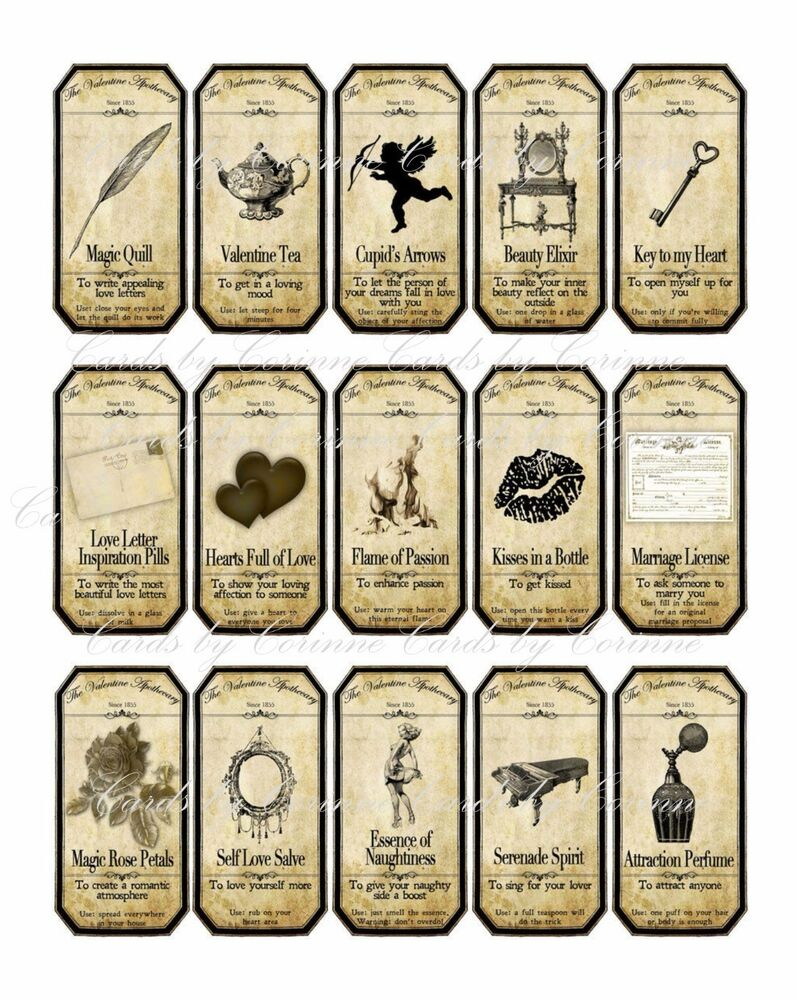 Valentine Steampunk Apothecary Label Stickers Set Of 15