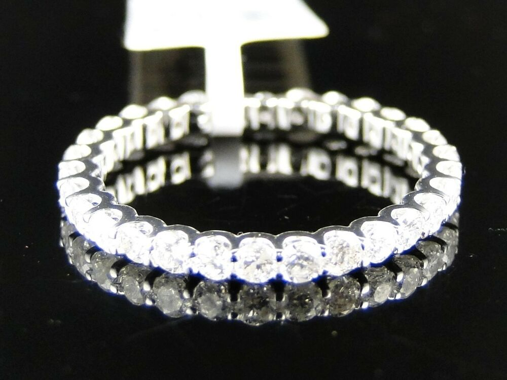 14K Womens White Gold Diamond Wedding 3 MM Pave Eternity