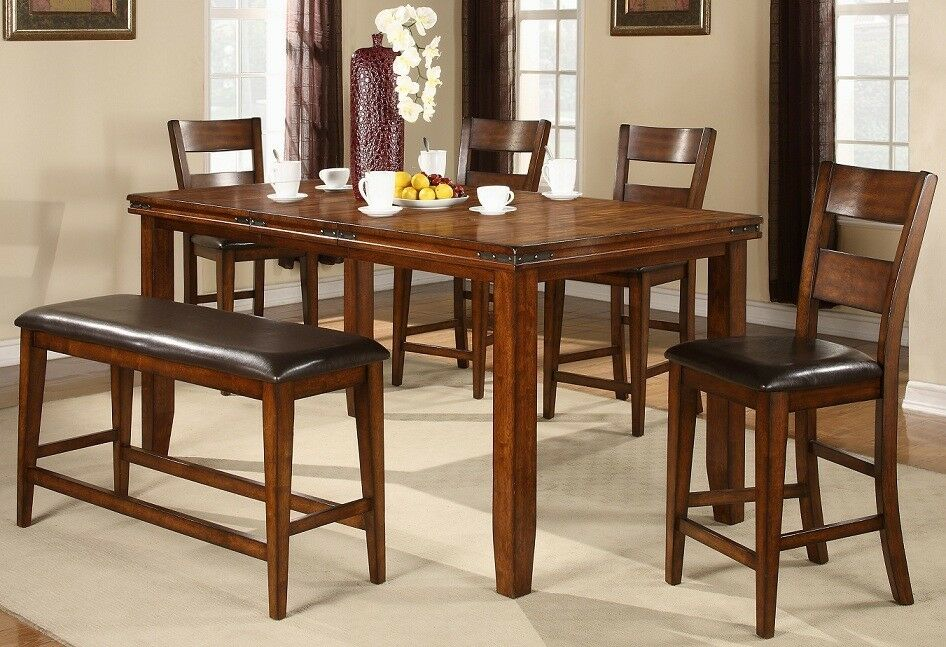 New Mango 7 Piece Dining Set Table W Leaf And 6 Chairs