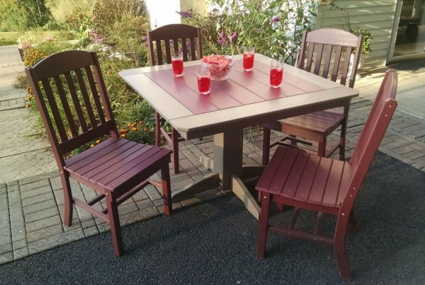 """wood patio furniture table and chairs Poly Lumber Wood Patio Set- 44"""" Square Table and 4 Classic"""