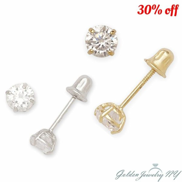 14K Yellow / White Gold Round CZ Stud Basket Earrings ...