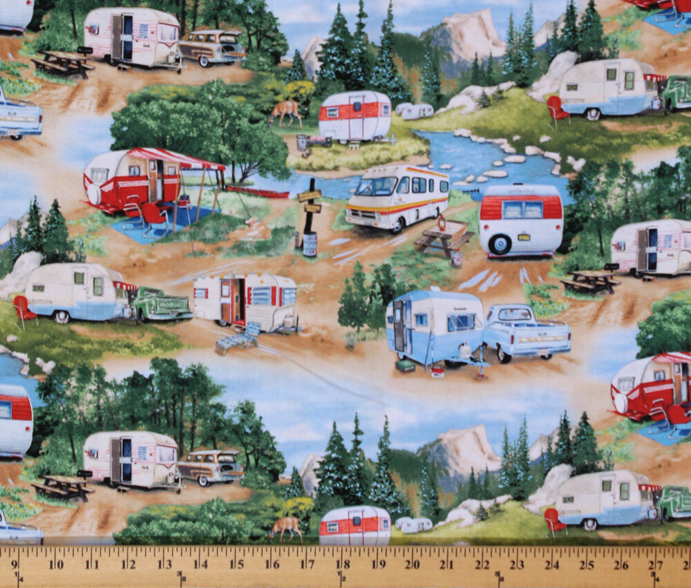 Cotton Vintage Trailers Camping Campers RVs Fabric Print