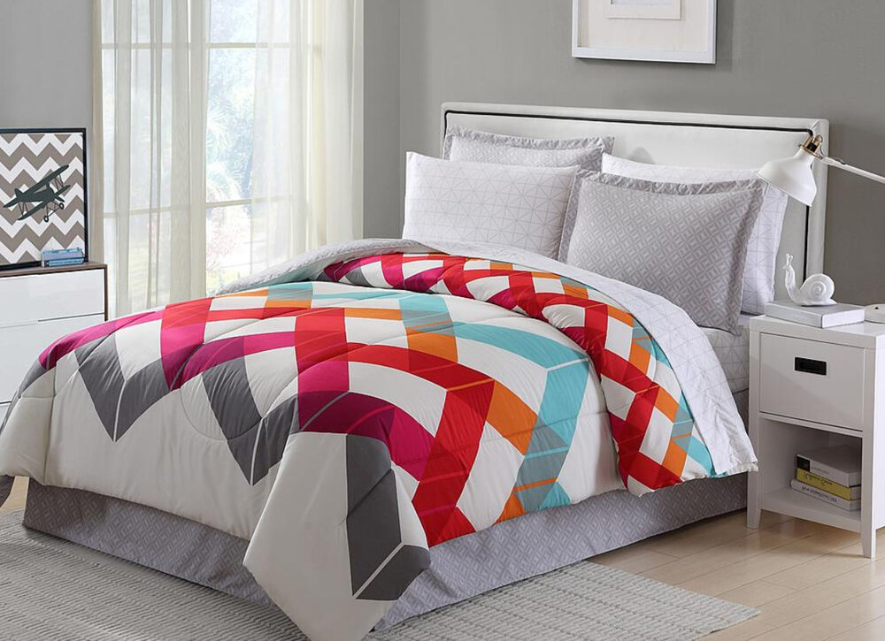 Red Blue Orange Grey White Geometric Chevron 6 Piece
