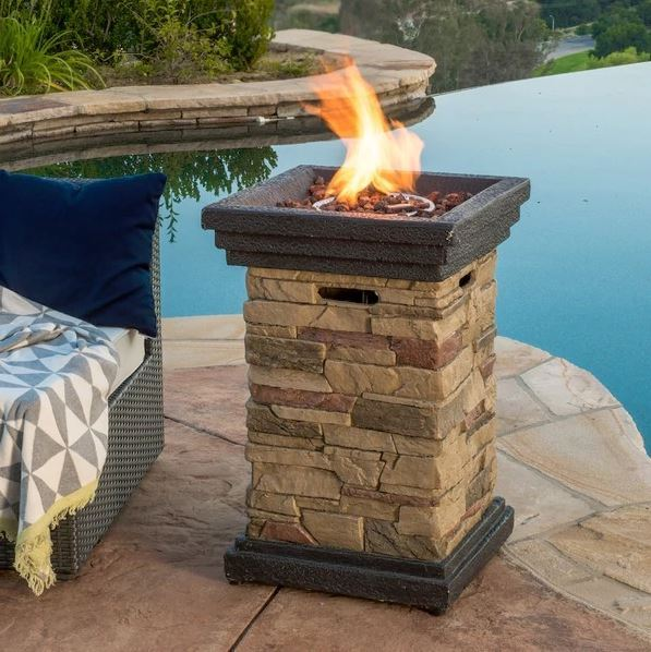 Patio Fire Pit Table Outdoor Gas Fireplace Bowl Propane ... on Outdoor Gas Fireplace For Deck id=21460