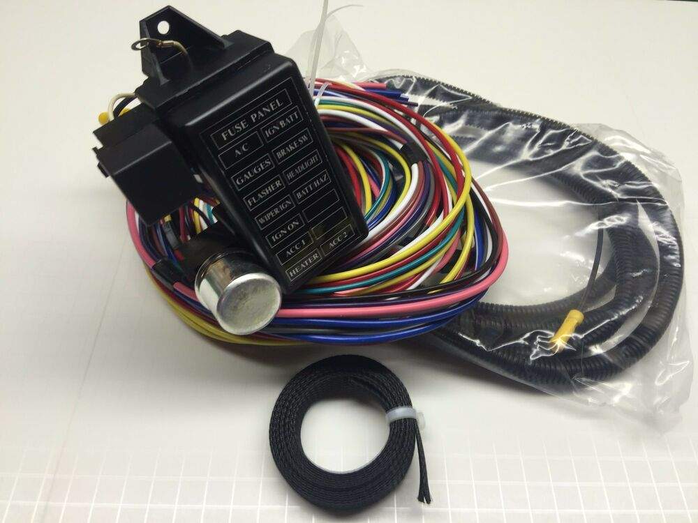 12 Circuit Universal Wire Harness 14 Fuse 12v With Braided