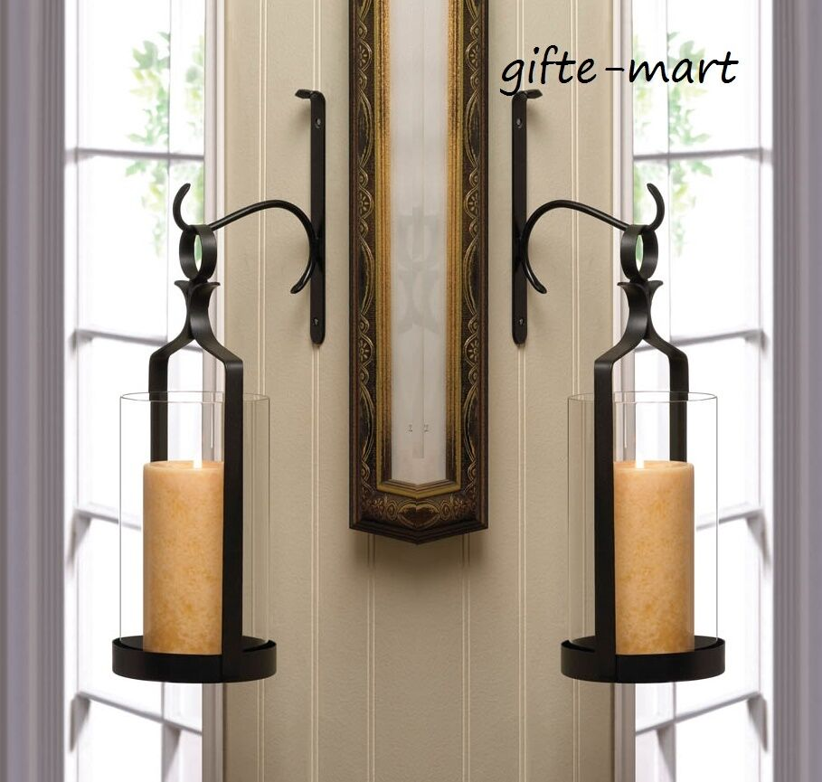 """2 set large 12"""" Black Artisanal Sconce WALL hook mount ... on Wall Mounted Candle Holder id=57855"""