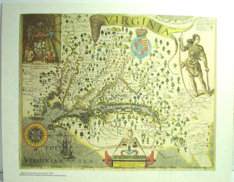 Vintage Map Of Virginia by John Smith 1612 Reproduction Antique     Vintage Map Of Virginia by John Smith 1612 Reproduction Antique Print   eBay