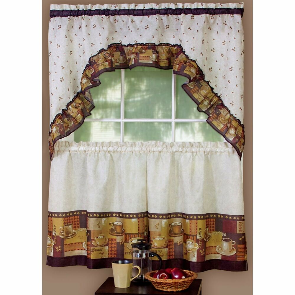 COFFEE CUP CAFE THEME CURTAINS AND SWAG SET EBay