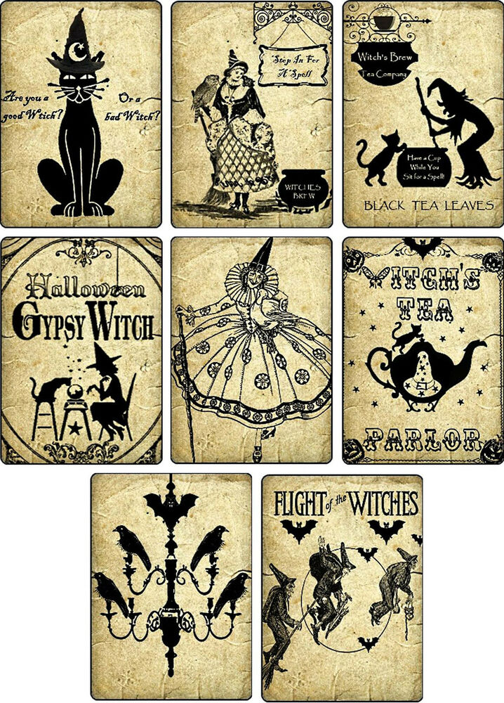 Vintage Images Halloween Witches Pumpkin Cat Cards Tags
