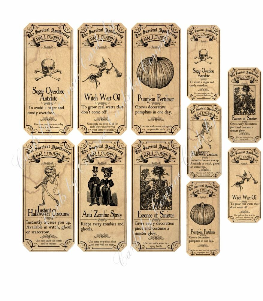 Surviving Halloween Apothecary Labels Stickers 2 Sizes