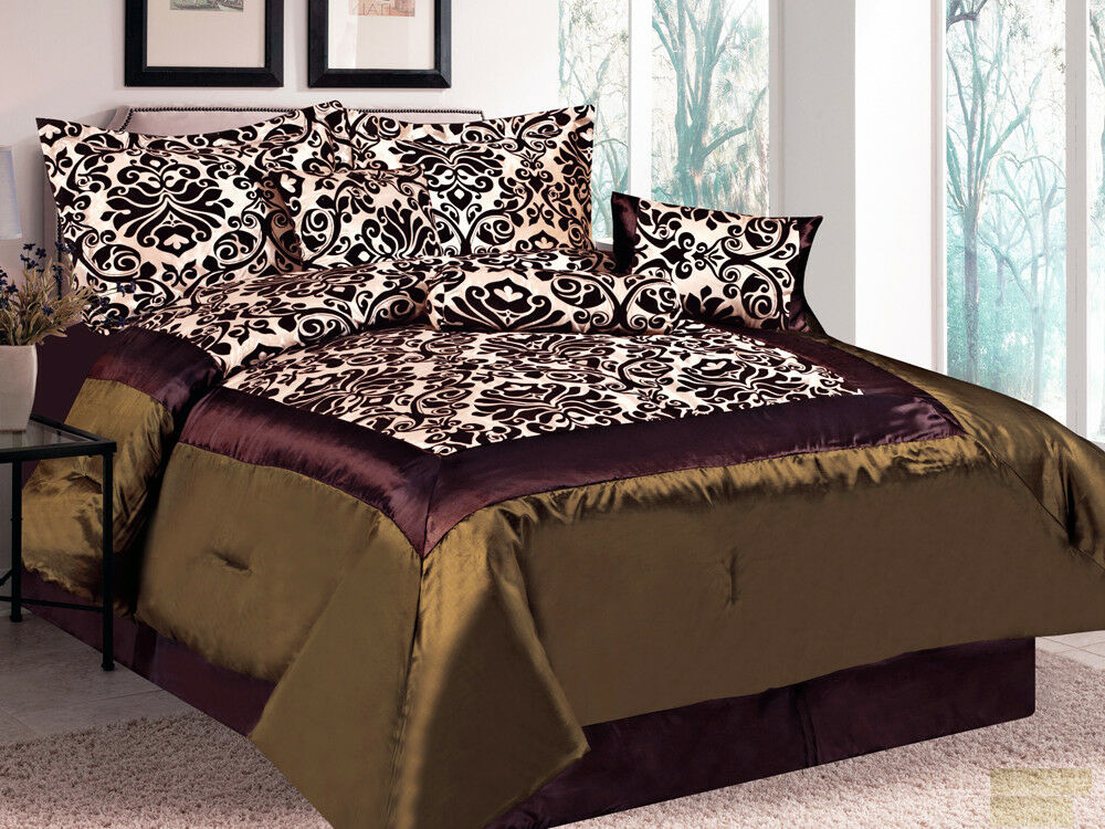 7-Pc Damask Floral Flocking Satin Comforter Set Brown