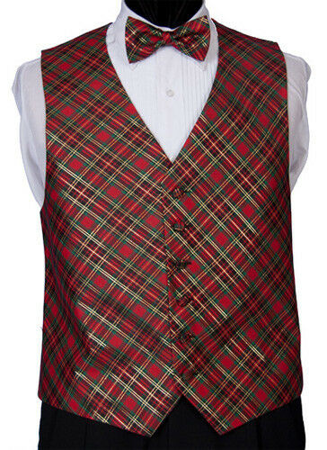 Tartan Plaid Holiday Tuxedo Vest And Bow Tie EBay