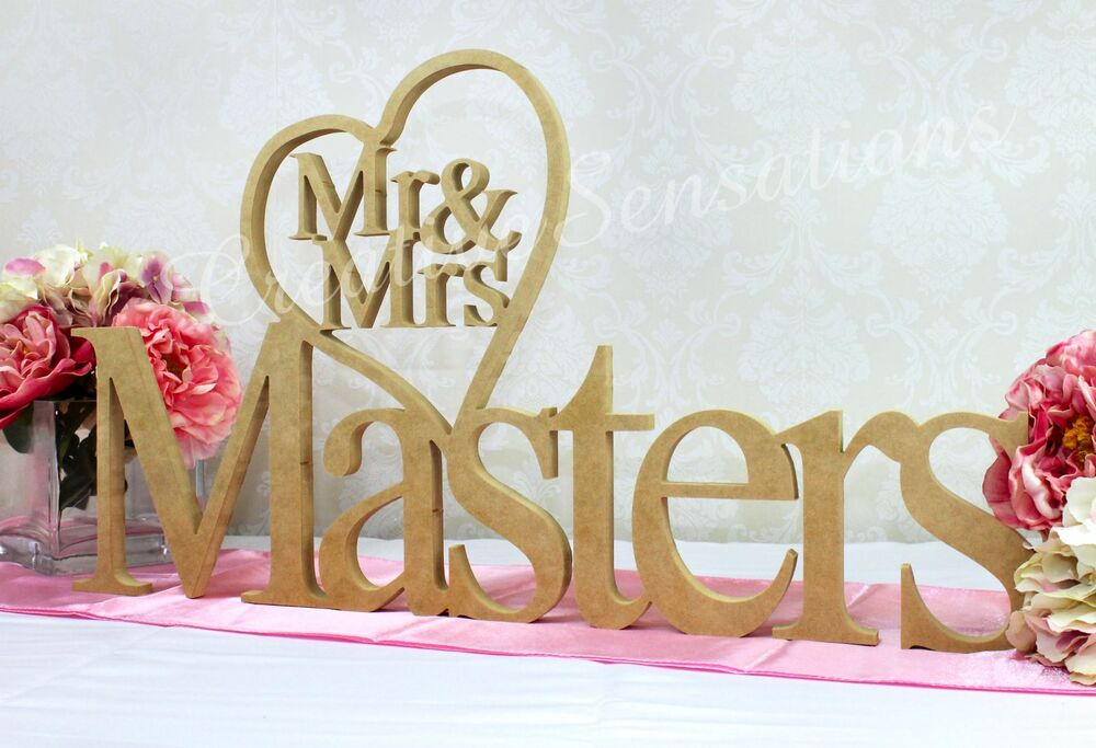 Personalised Mr Mrs Heart Wooden Wedding Name Plaque