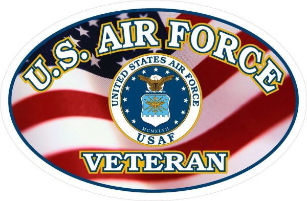 United States Air Force Veteran FLAG Window Decal Sticker ...