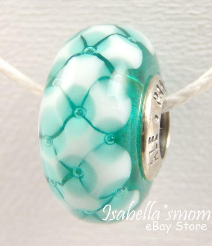 TEAL LATTICE Authentic PANDORA SilverAquaWhite Murano Glass Charm Bead NEW EBay