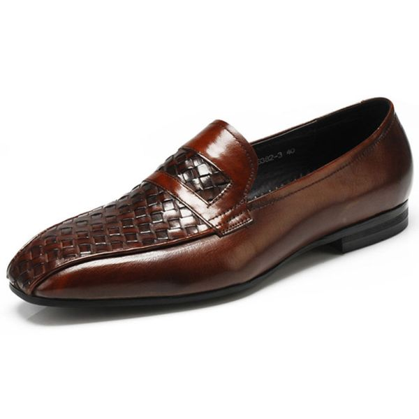 Woven GENUINE Leather Mens Slip On Business Loafer Formal ...