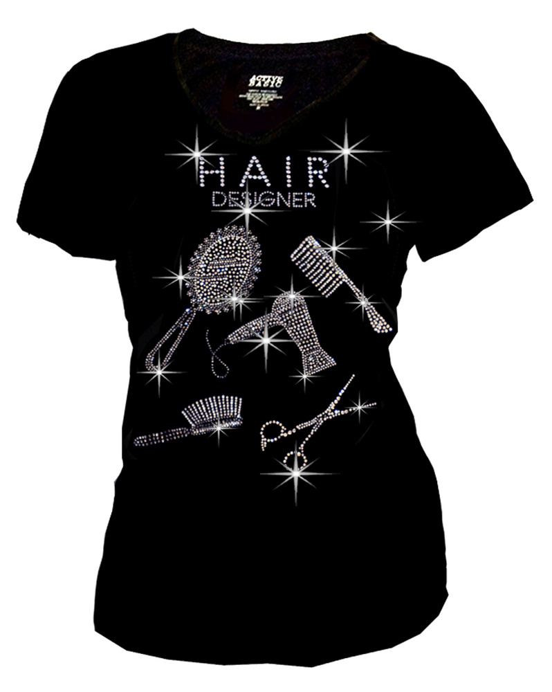 Women Plus Size Hair Stylist Bling Bling Rhinestones T