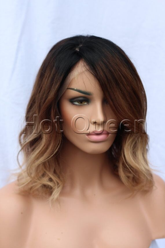 100 Brazilian Remy Human Hair Ombre Short Wavy Full Lace