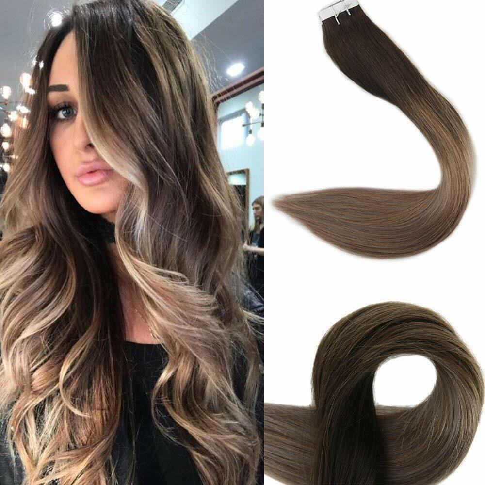 18 BALAYAGE OMBRE TAPE IN REMY HUMAN HAIR EXTENSIONS DARK