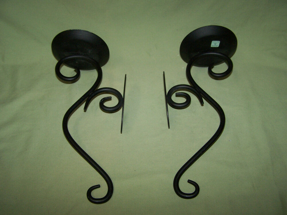 Set of 2 Party Lite Hearthside Black Wall Sconces Candle ... on Black Wrought Iron Wall Candle Holders id=96013