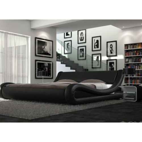 Enzo Italian Modern Designer Double Or King Size Leather Bed Memory Mattress