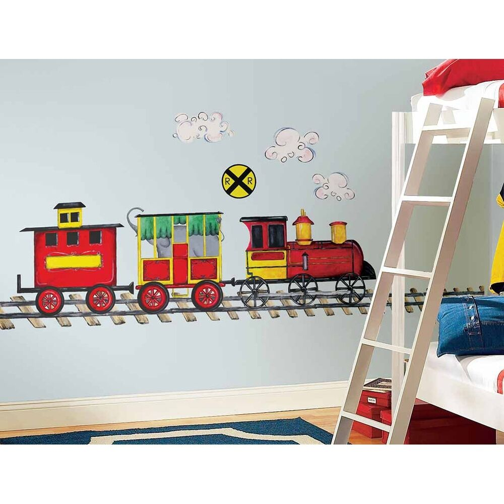 New GIANT TRAIN WALL DECAL MURAL Boys Room Trains Stickers