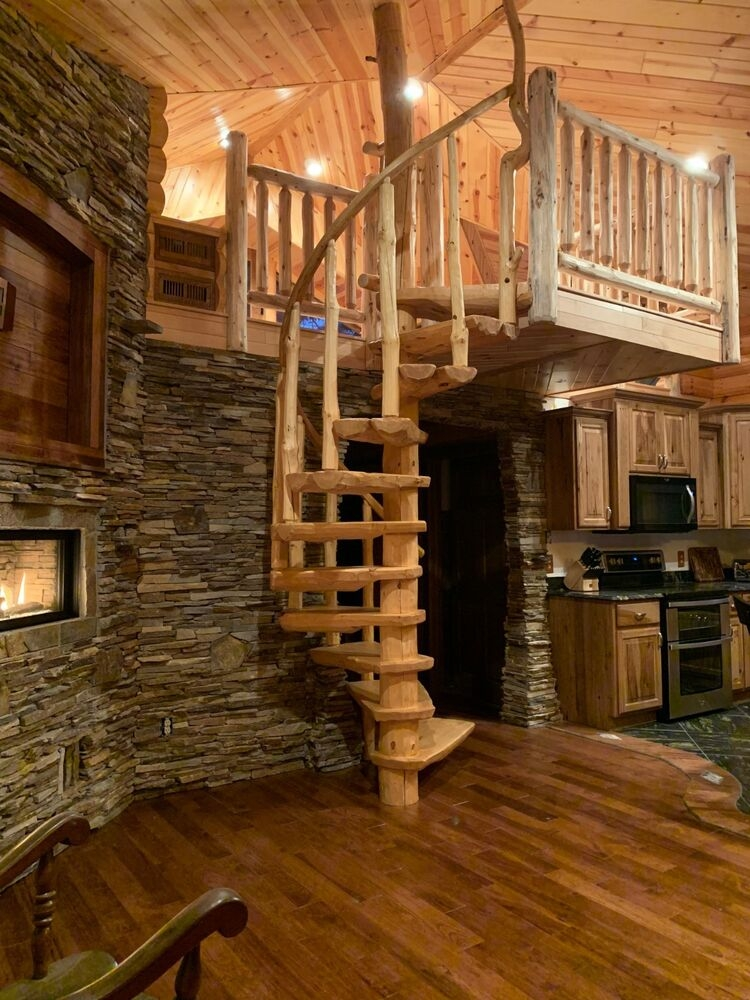 Rustic Log Spiral Staircases Stairways Priced Per Step | Stair Banisters For Sale