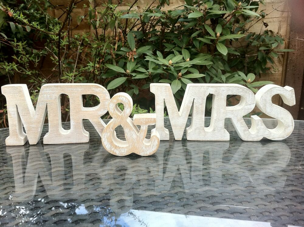 MR & MRS WHITE WASH WOOD FREE STANDING LETTERS WEDDING TOP