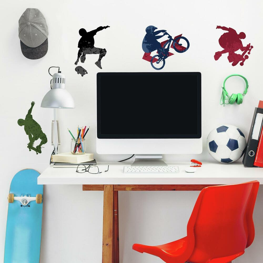 25 New EXTREME SPORTS WALL DECALS Skateboarding Biking ... on Room Decor Stickers id=11633