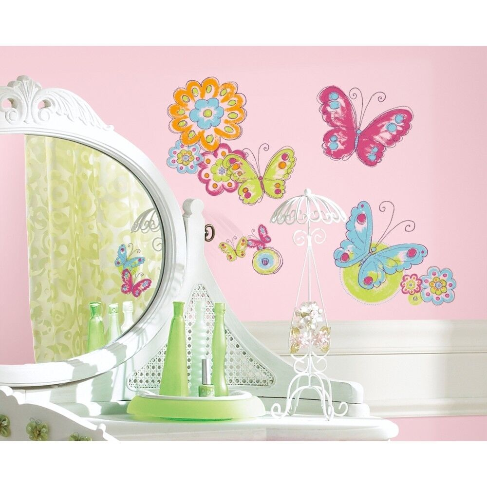 New BUTTERFLIES & FLOWERS WALL DECALS Girls Butterfly Room ... on Room Decor Stickers id=21815