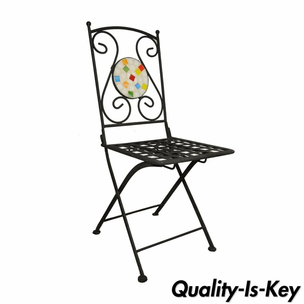 Single Wrought Iron Mosaic Tile Folding Garden Dining ... on Outdoor Living Iron Mosaic id=83244