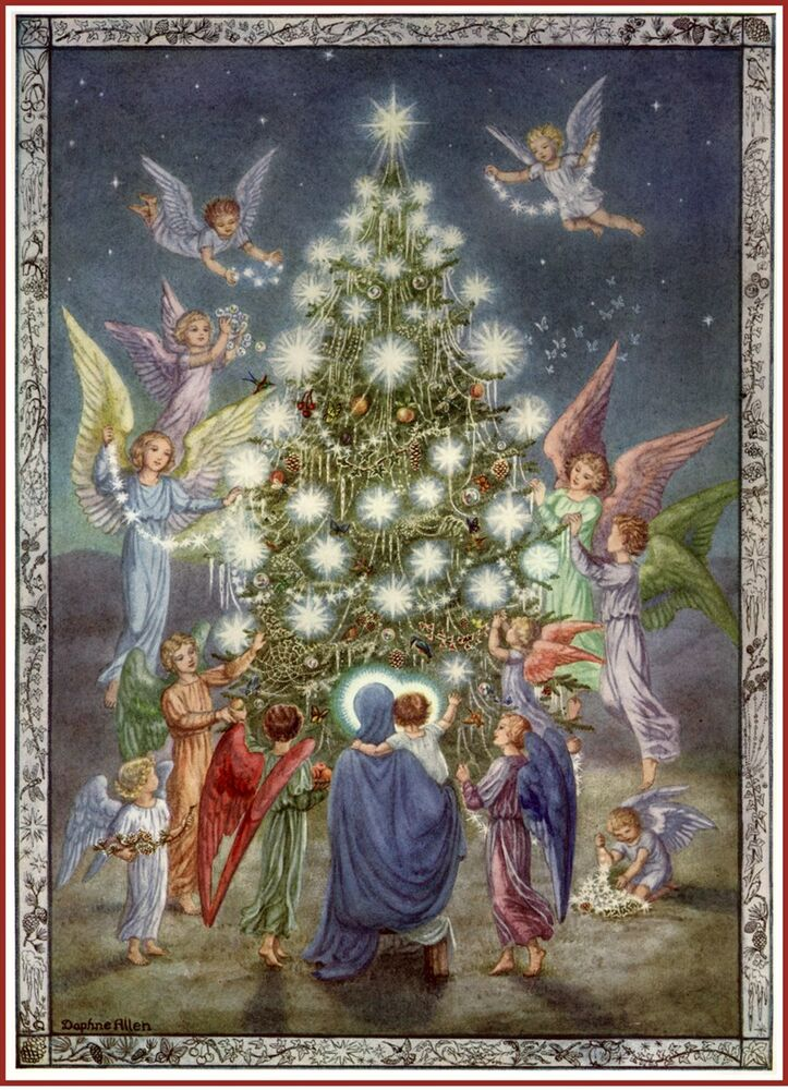 CHRISTMAS TREE POSTER FROM 1951 OF MARY JESUS ANGELS