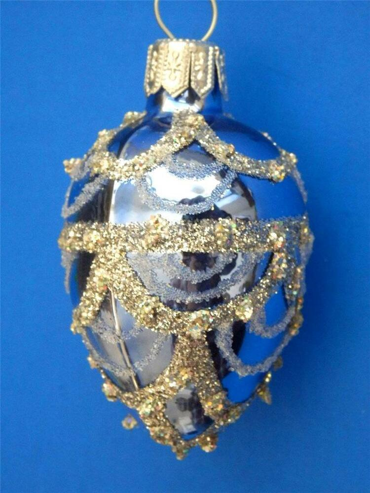 BLUE SILVER FABERGE EGG BLOWN GLASS CHRISTMAS TREE