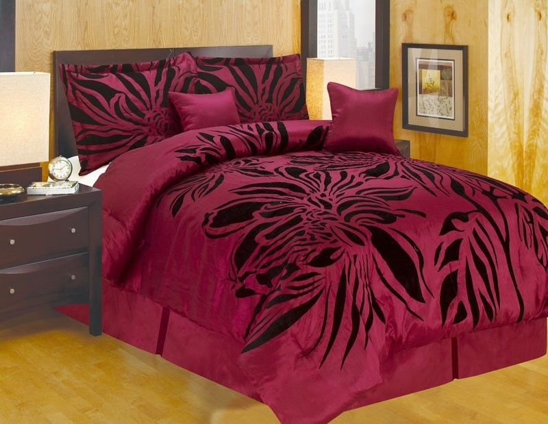 Queen King And Or Curtain Modern Style Burgundy Black