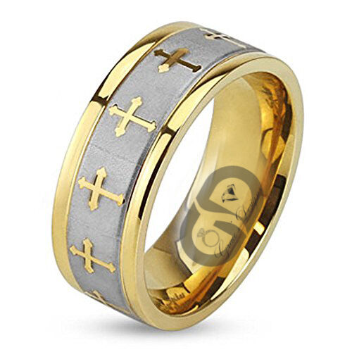 Stainless Steel Celtic Cross Gold IP Wedding Band Brushed