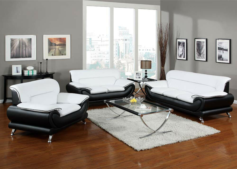 Orel White And Black Bonded Leather Sofa Set Living Room