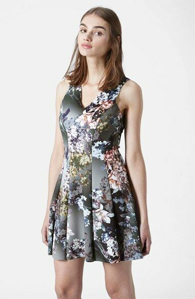 NEW TOPSHOP Floral Print DRESS SIZE EURO 36 US 4 UK 8 VERY