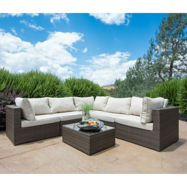 outdoor wicker patio furniture sectional sofa set SUPERNOVA 6PC Patio Furniture Rattan Sofa Set Outdoor