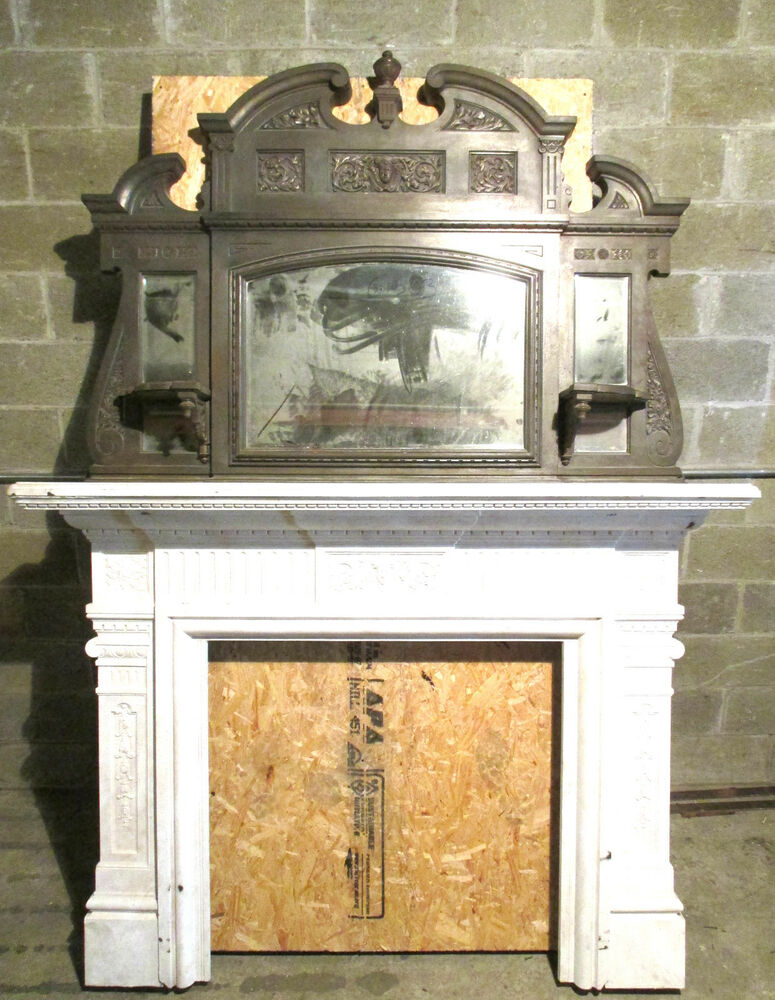 TALL TWO PIECE ANTIQUE CAST IRON FIREPLACE MANTEL 8 FT