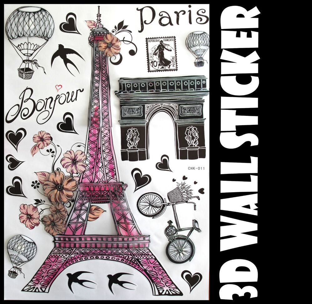 3D Pink Paris Wall Sticker decals Home Decor Decoration ... on Room Decor Stickers id=53605