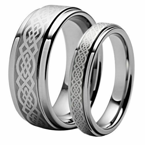 Mens Amp Womans Matching Tungsten Carbide Celtic Knot