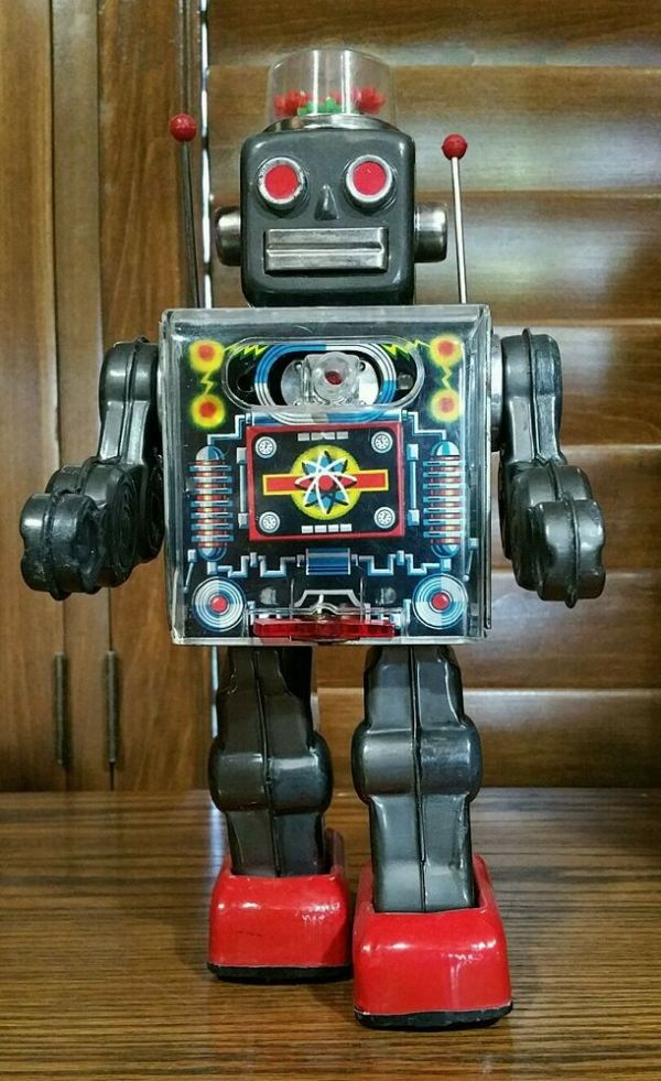 ORIGINAL 1960s FIGHTING ROBOT Tin Toy by S.H. Horikawa ...