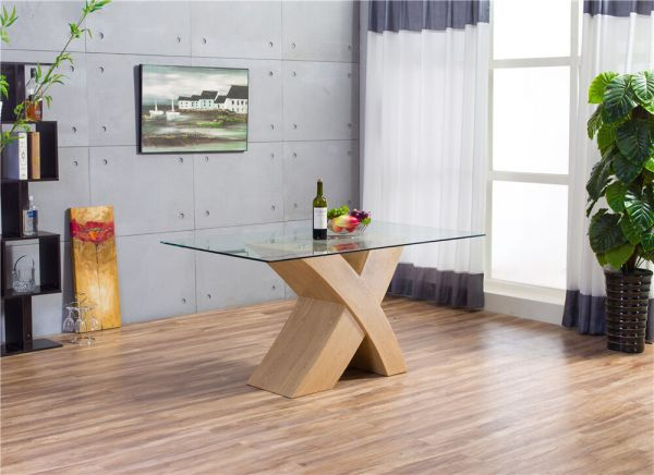 MILANO X Wood Effect OAK Glass Dining Table Set 6 Chairs ...