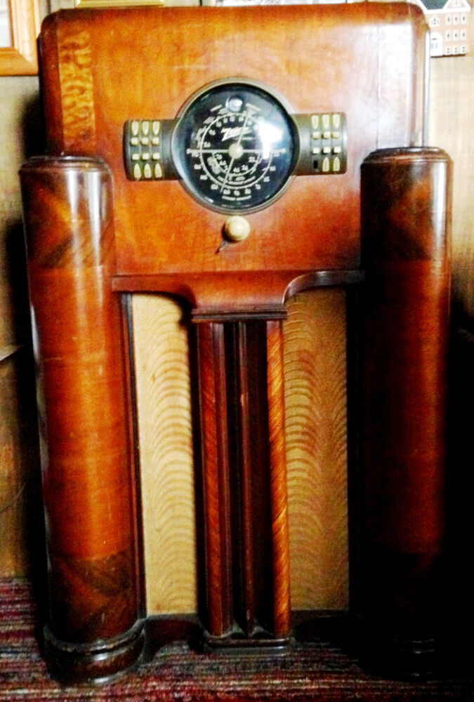 1939 ZENITH FLOOR RADIO MODEL 7 S 363 DIALPUSH BUTTON TUBE WITH WALNUT CABINET EBay
