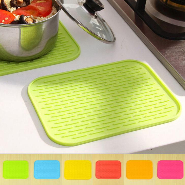 Silicone Hot Pads Trivets Heat Resistant Non Slip Coaster Kitchen