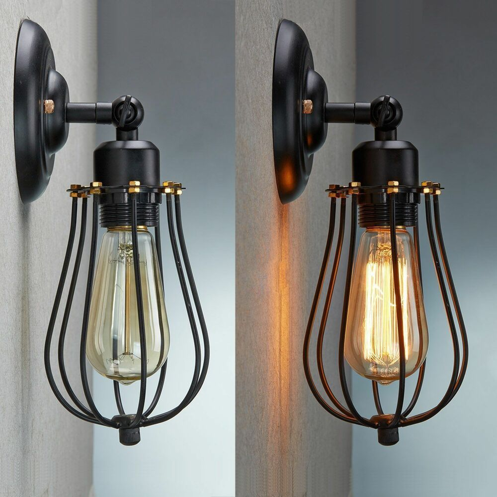 VINTAGE INDUSTRIAL LOFT RUSTIC CAGE SCONCE WALL LIGHT WALL ... on Rustic Wall Sconces id=62678