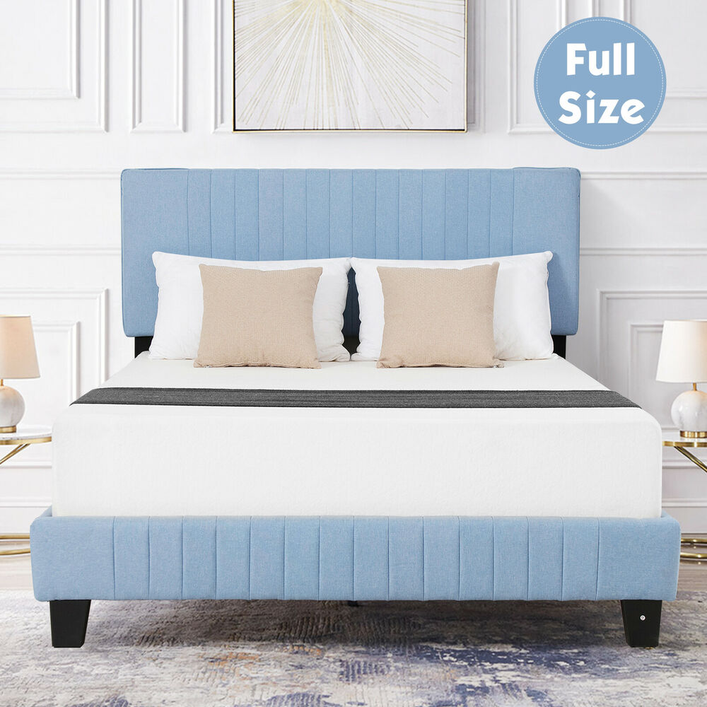 Queen Size Metal Bed Frame Wood Slats Platform With