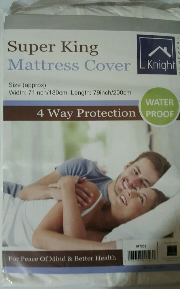 Super King Mattress Cover Protection Waterproof Vinyl White Bed Wetting Pregnant Ebay