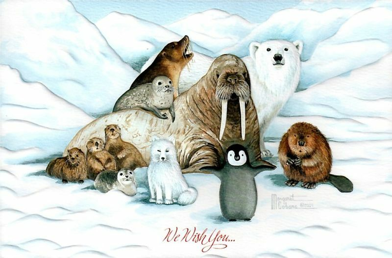 16 Boxed Christmas Cards Walrus Penguin Seal Beaver Polar